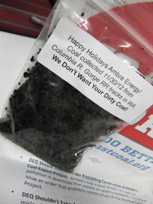 Packets of coal were labeled as having been collected along the railroad tracks on the Washington side of the Columbia River Gorge.
