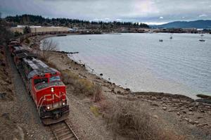Courtesy of Paul K. Anderson/Chuckanut ConservancyA train runs along Bellingham Bay