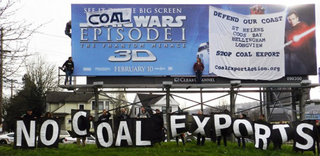 Coal opposition in Bellingham, Washington. Photo courtesy of Portland Rising Tide