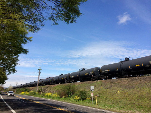 An oil train parked in Vancouver, Wash., in early April. BNSF moves 18 oil trains weekly through the Columbia River Gorge to Clark County. (Rob Davis/The Oregonian)